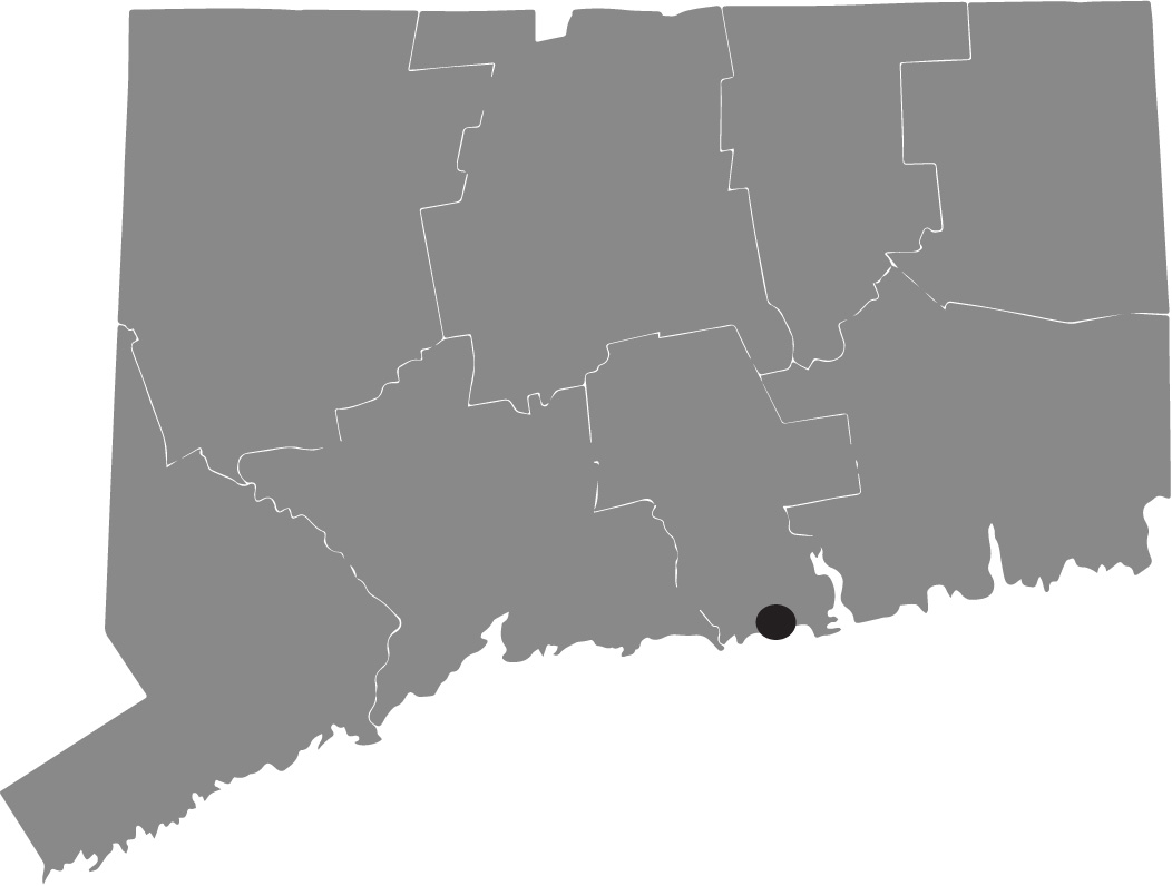 Map image of Connecticut with Westbrook highlighted