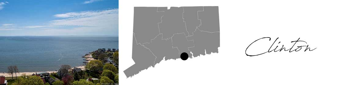 Clinton header with images of a beach in Clinton and a Map image of Connecticut with Clinton highlighted