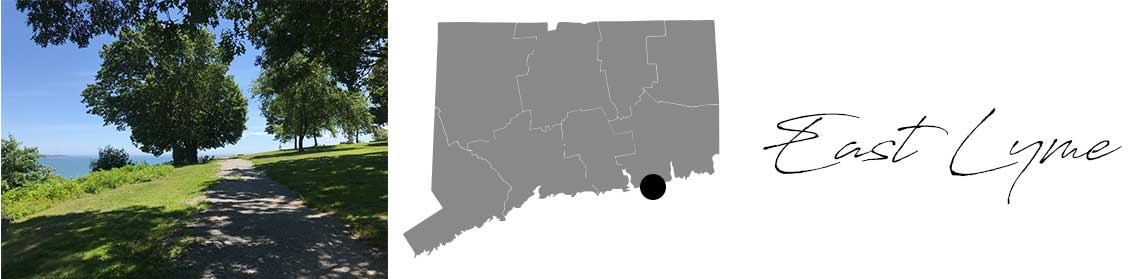East Lyme header with an image of a path and a Map image of Connecticut with East Lyme highlighted