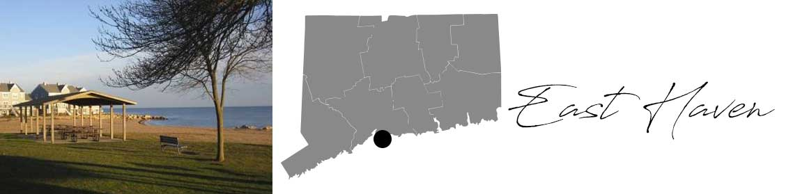 East Haven header with an image of East Haven beach and a Map image of Connecticut with East Haven highlighted