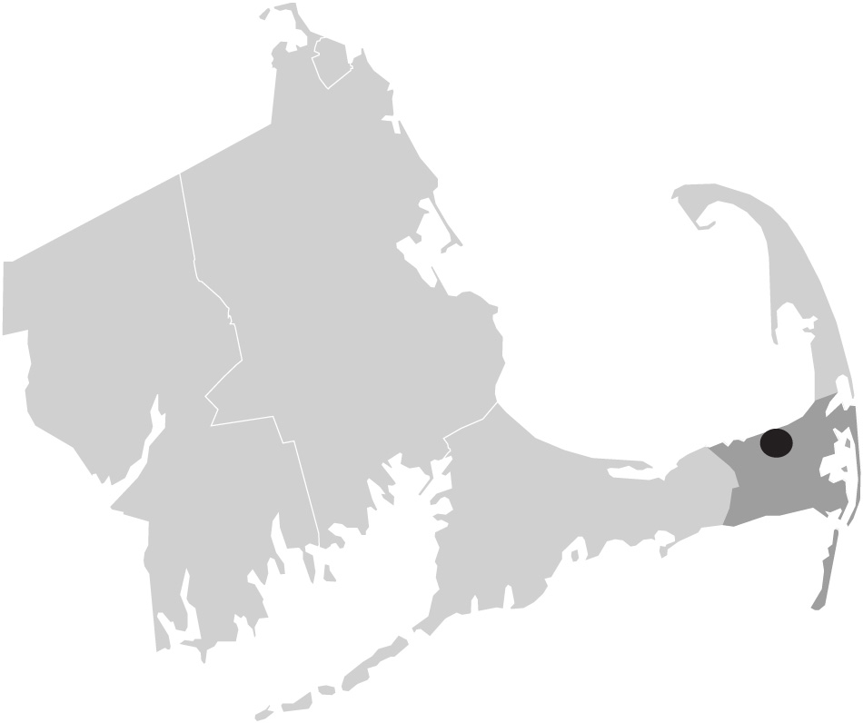 Map image of Massachusetts with Brewster , Cape Cod highlighted