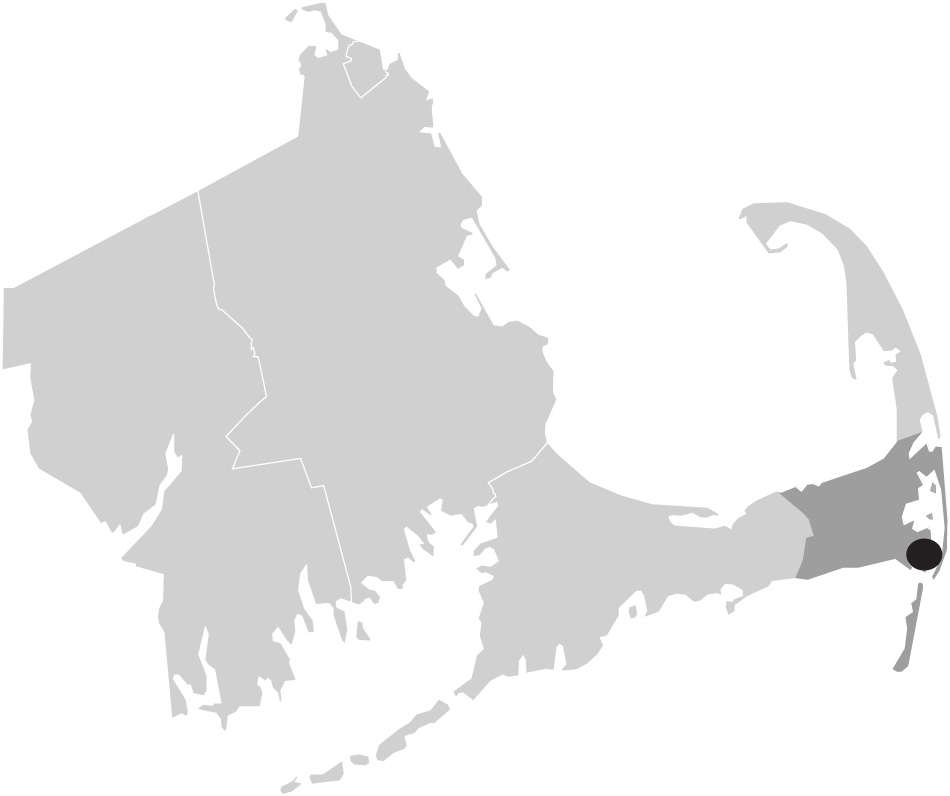 Map image of Massachusetts with Chatham, Cape Cod highlighted