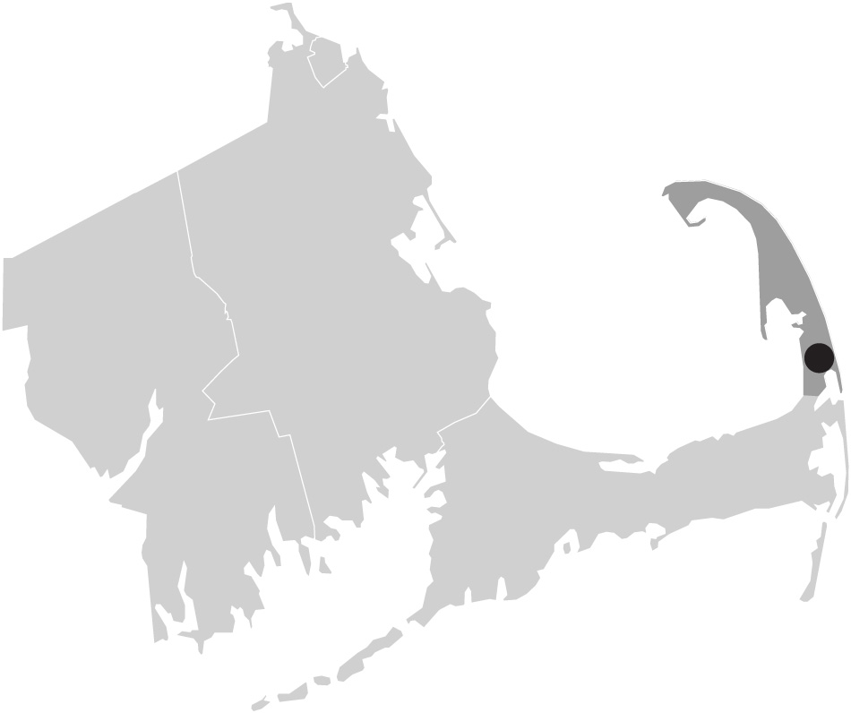 Map image of Massachusetts with Eastham, Cape Cod highlighted