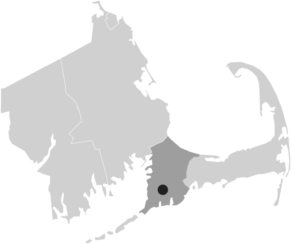 Map image of Massachusetts with Falmouth, Cape Cod highlighted