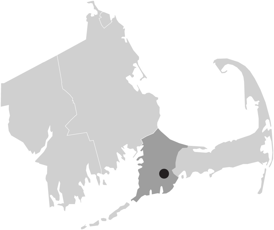 Map image of Massachusetts with Mashpee, Cape Cod highlighted