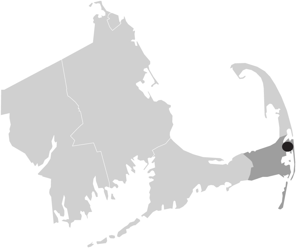 Map image of Massachusetts with Orleans, Cape Cod highighted
