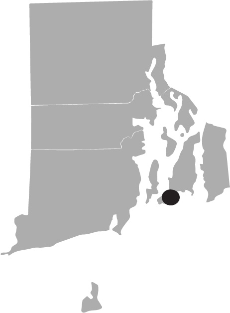 Map image of Rhode Island with Newport highlighted
