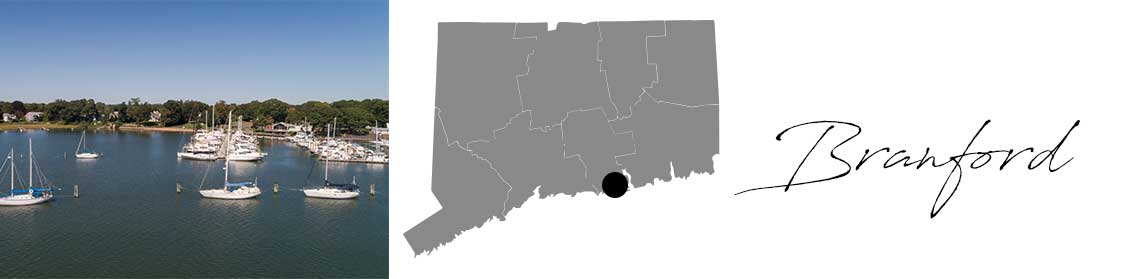 Branford header with an image of the marina and a Map image of Connecticut with Branford highlighted