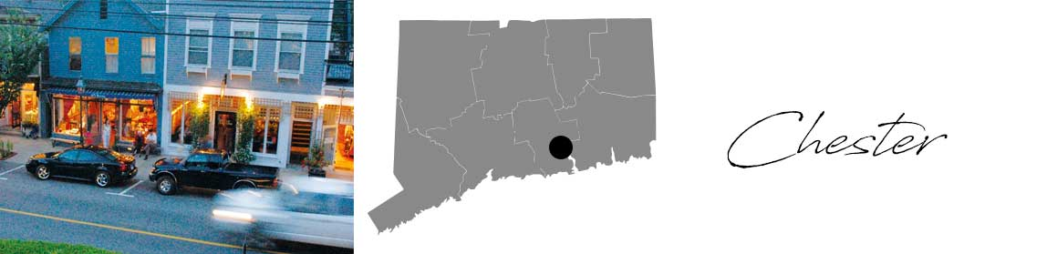 Chester header with images of the town and a Map image of Connecticut with Chester highlighted
