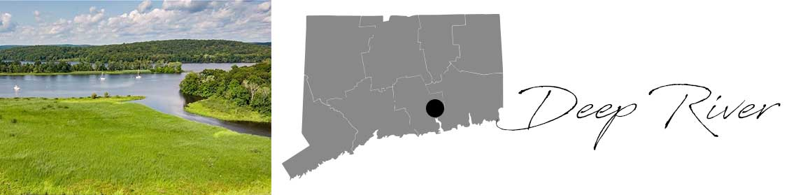 Deep River header with an image of a pond in Deep River and a Map image of Connecticut with Deep River highlighted