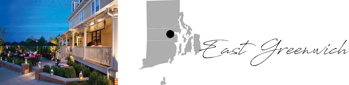 East Greenwich header with an image of a restaurant at night and a Map image of Connecticut with East Greenwich highlighted