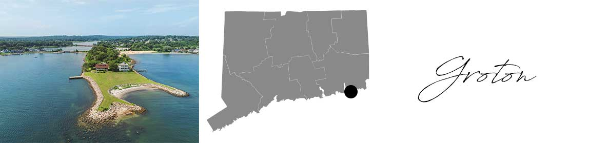 Groton header with an image of a house on a pennisula and a Map image of Connecticut with Groton highlighted