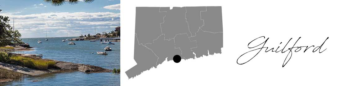 Guilford header with an image of the marina and a Map image of Connecticut with Guilford highlighted
