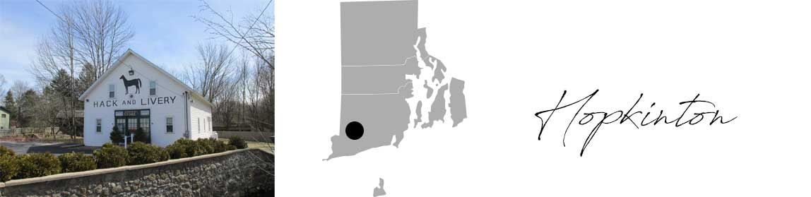Hopkinton header with an image of the store hack and livery and a Map image of Connecticut with Hopkinton highlighted