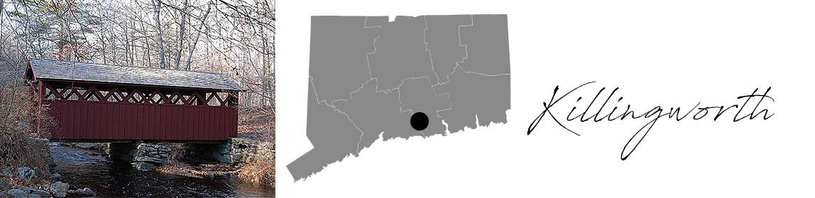 Killingworth header with an image of a red house and a Map image of Connecticut with Killingworth highlighted