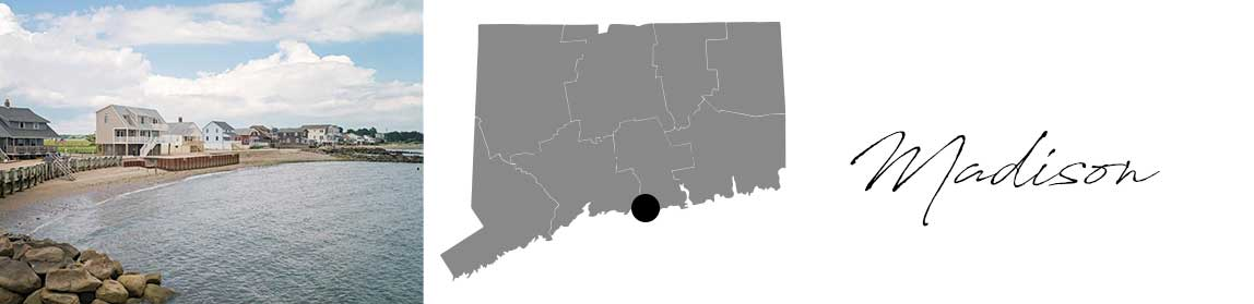 Madison header with an image of a beach and a Map image of Connecticut with Madison highlighted