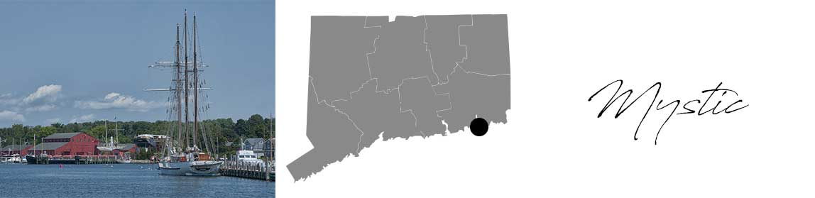 Mystic header with an image of the marina and a Map image of Connecticut with Mystic highlighted