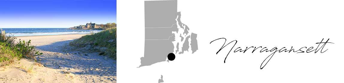 Header image of Narragansett beach and map