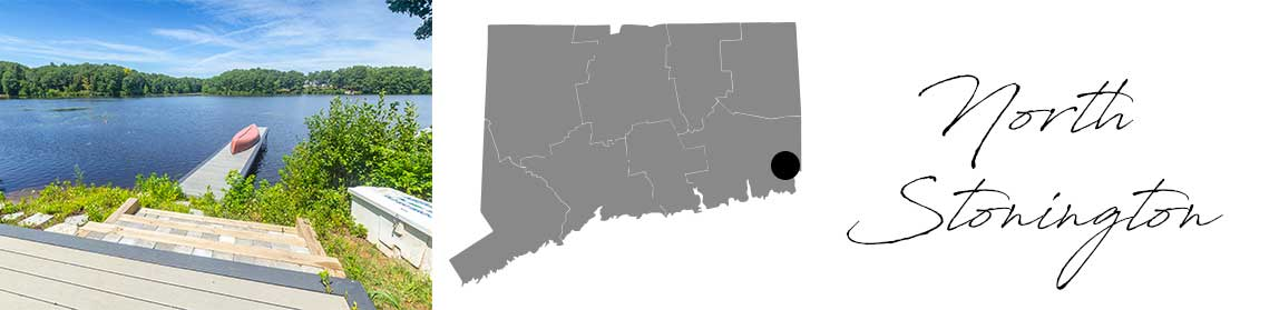 North Stonington header with an image of a dock into a pond and a Map image of Connecticut with North Stonington highlighted