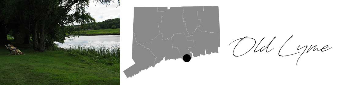 Old Lyme header with an image of lake and greenery and a Map image of Connecticut with Old Lyme highlighted