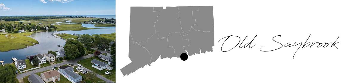 Old Saybrook header with an image of houses on the water and a Map image of Connecticut with Old Saybrook highlighted