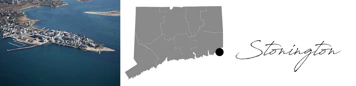 Stonington header with an image a peninsula and a Map image of Connecticut with Stonington highlighted