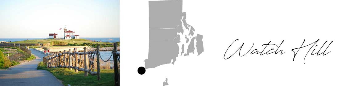 Watch Hill header with an image of the path on the water and a Map image of Connecticut with Watch Hill highlighted