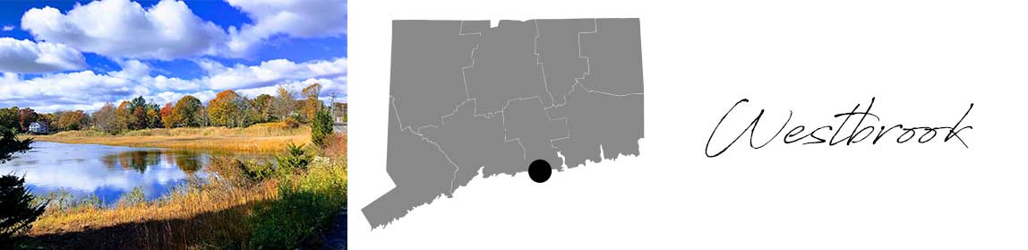 Westbrook header with an image of a pond and a Map image of Connecticut with Westbrook highlighted