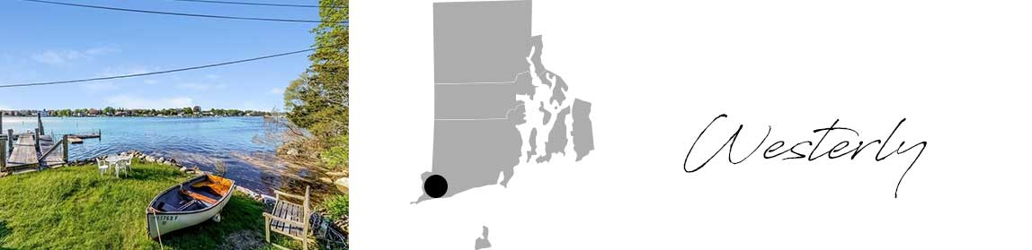 Westerly header with an image of a row boat in front of the water and a Map image of Connecticut with Westerly highlighted