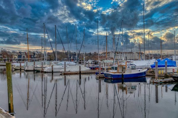 Photograph of a marina with boats in Newport, RI