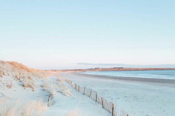 Photograph of a sandy beach in Newport, Rhode Island